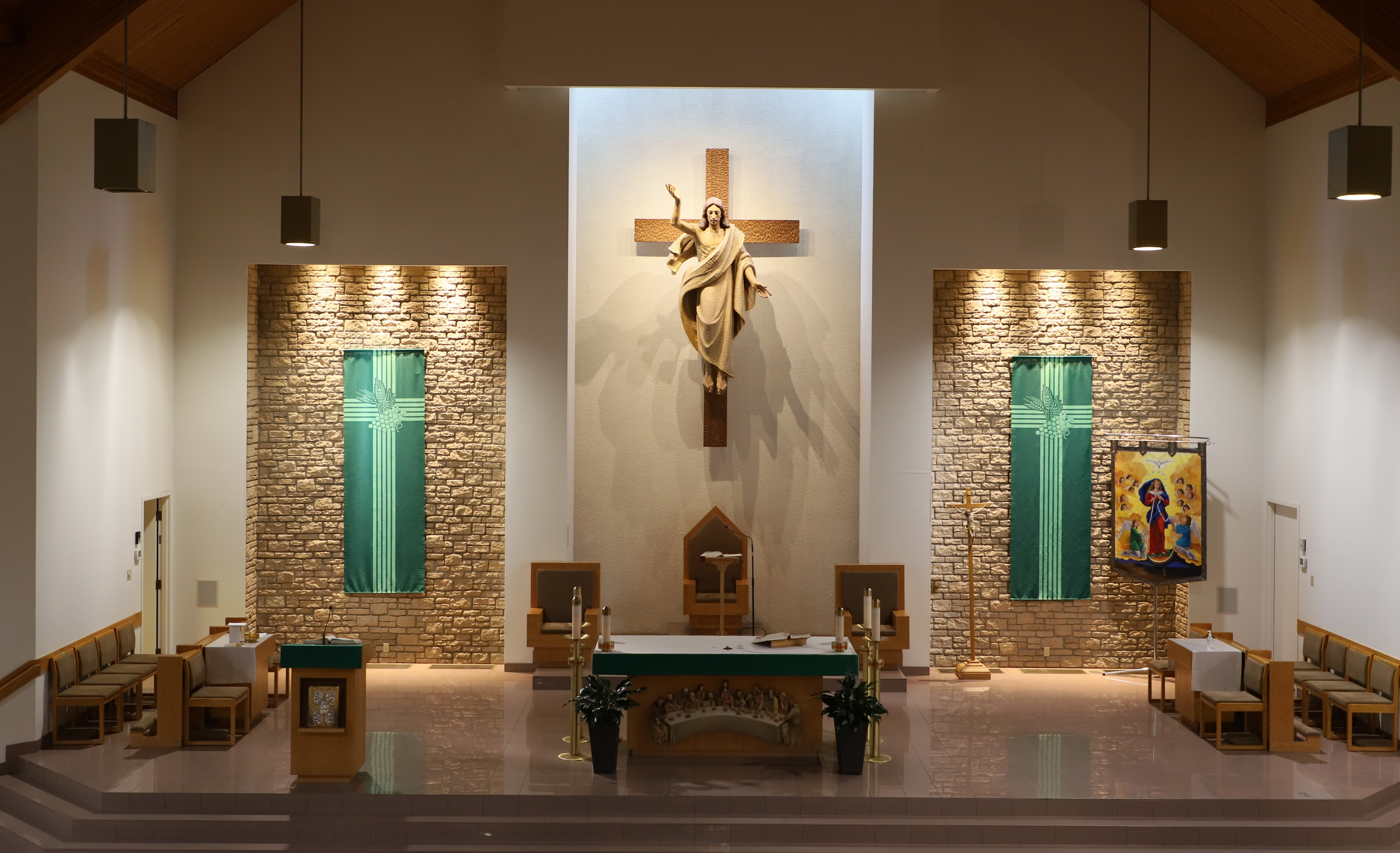 St. Leonard's Altar with green banners for ordinary time